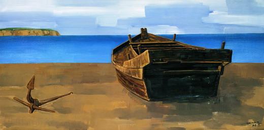 静谧的海滩(油画)100cm×200cm