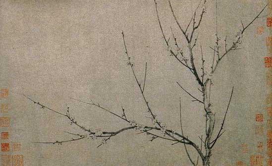 杨无咎《四梅图》之一; 梅花诗配画; 主题:书画共贺中国年; 图片