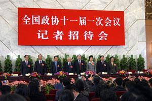 LeadersofChina'seightnon-CommunistpartiesmeetthepresstogetheratajointpressconferenceforthefirsttimeonthesidelineoftheannualparliamentaryandpoliticaladvisorysessionsinBeijing,capitalofChina,March6,2008.(Xinhua/PangXinglei)