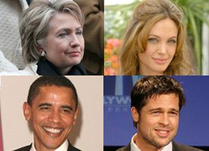 U.S. Democratic presidential hopeful Sen. Barack Obama (lower left) is a distant cousin of actor Brad Pitt (lower right) and Hillary Clinton (upper left) is related to Pitt's girlfriend Angelina Jolie (upper right), a genealogical society said Tuesday. (File Photo)