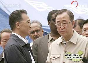 Premier Wen Jiabao has thanked UN Secretary-General Ban Ki-moon for the United Nations' quake relief efforts.