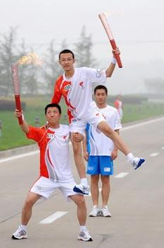 Olympic Flame is being carried through Shijiazhuang, Hebei province.