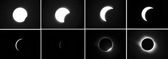 The combination photo shows the total solar eclipse occured in Jinta County of Jiuquan City, northwest China's Gansu Province, on Aug. 1, 2008. The total solar eclipse, the first that can be viewed in China in the new century, occured on Friday.(Xinhua/Han Chuanhao)