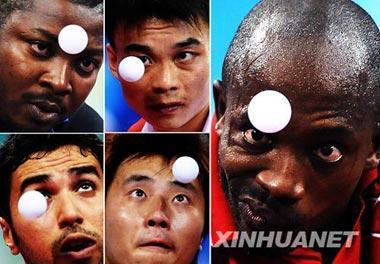 Athletescompetinginthefirsttournamentofthemen'stabletennissingles,Aug.19.(Xinhua)
