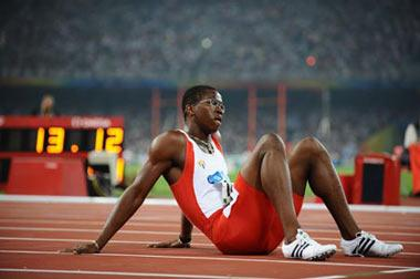 Dayron Robles of Cuba reacts after the men's 110m hurdles semifinal at the National Stadium, also known as the Bird's Nest, during Beijing 2008 Olympic Games in Beijing, China, Aug. 20, 2008.(Xinhua Photo)