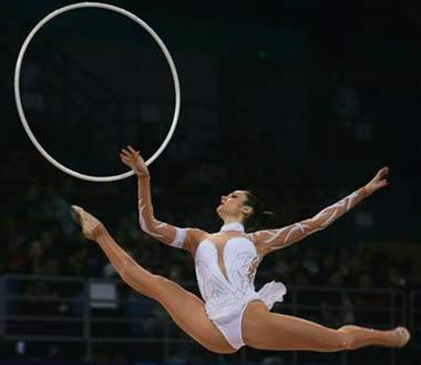 Anna Bessonova of Ukraina performs during the Beijing Olympics.