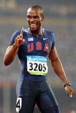 LaShawn Merritt of the United States gestures after the men's 400m final at the National Stadium, also known as the Bird's Nest, during Beijing 2008 Olympic Games in Beijing, China, Aug. 21, 2008. LaShawn Merritt won the title with 43.75 seconds. (Xinhua Photo)
