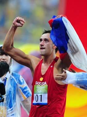 Andrey Moiseev of Russia celebrates after winning the gold medal of the men's modern pentathlon of the Beijing 2008 Olympic Games in Beijing,China,Aug.21,2008