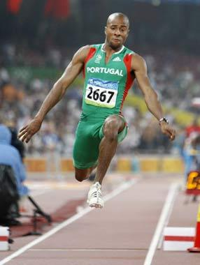 Nelson Evora of Portugal competes during the men's triple jump final at the National Stadium, also known as the Bird's Nest, during Beijing 2008 Olympic Games in Beijing, China, Aug. 21, 2008. Nelson Evora won the gold with 17.67 metres. (Xinhua/Liao Yujie)