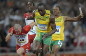 Lightning Usain Bolt strikes thrice