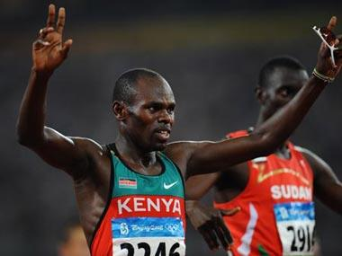 Wilfred Bungei of Kenya celebrates after the men's 800m final at the National Stadium, also known as the Bird's Nest, during Beijing 2008 Olympic Games in Beijing, China, Aug. 23, 2008. Wilfred Bungei won the title with 1:44.65.(Xinhua Photo)