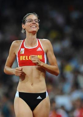 Tia Hellebaut of Belgium celebrates after the women's high jump final at the National Stadium, also known as the Bird's Nest, during Beijing 2008 Olympic Games in Beijing, China, Aug. 23, 2008. Tia Hellebaut won the title with 2.05 metres. (Xinhua Photo)