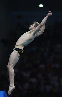 Matthew Mitcham of Australia performs a dive during Men's 10m Platform Final of Beijing 2008 Olympic Games diving event in Beijing, China, Aug. 23, 2008. Matthew Mitcham claimed the gold of the event. (Xinhua/Liu Yu)
