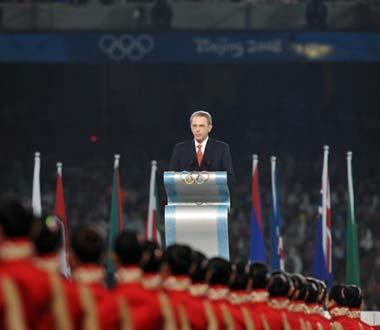 International Olympic Committee (IOC) President Jacques Rogge delivers a speech at the Beijing 2008 Olympic Games closing ceremony in the National Stadium, or the Bird's Nest, in Beijing, China, on Aug. 24, 2008. (Xinhua Photo)