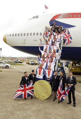 The British Olympic team arrives on August 25, 2008 from Beijing at London's Heathrow airport. Britain's most successful Olympic team for 100 years arrived home after winning 47 medals in Beijing but team bosses warned that the coaches behind the medal haul could be poached by other nations. Britain's collection of 19 gold medals lifted it to fourth in the medals table and raised expectations of home success at the 2012 Olympics in London. [Agencies]