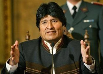 Bolivia's President Evo Morales speaks during a press conference in La Paz, Saturday, Sept. 13, 2008. Morales said he does not want to break relations with Washington, after the ousting of the U.S. ambassador to Bolivia last Wednesday, and that he is considering to extend the state of siege to other rebel regions, depending on the results of a dialogue process launched Friday.(AP Photo/Martin Mejia)