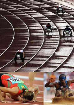 (Upper) Athletes compete in the rain during a match of the Men's 400m T53 of the Beijing Paralympic Athletics event Sept. 9, 2008. (Lower Left) Sanna Benhama of Marocco kisses the ground after winning in the Women's 200m T13 final of the Beijing Paralympic Athletics event Sept. 13, 2008. (Lower Right) Lex Gillette of the United States competes in the Men's Long Jump F11 final of the Beijing Paralympic Athletics event Sept. 15, 2008. (Xinhua Photo)