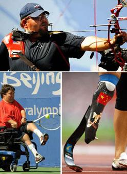 (Upper) Eric Bennett of the United States bites an arrow as he competes in the Men's Individual Compound (Open) 1/8 elimination round of the Beijing Paralympic Archery event Sept. 11, 2008.(Lower Left) Nick Taylor of the U.S. throws the ball into the air with his foot when he serves during the Mixed Singles (Quad) quarterfinal of the Beijing Paralympic Wheelchair Tennis event Sept. 14, 2008.(Lower Right) Wang Juan of China stands in the field after the Women's 100m T44 final of the Beijing Paralympic Athletics event Sept. 14, 2008.(Xinhua Photo)