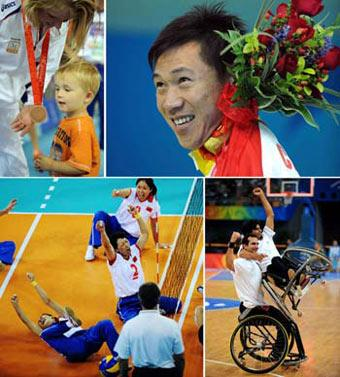 (Upper Left) Paula List of the Netherlands women's sitting volleyball team talks to her son during the awarding ceremony Spet. 14, 2008.(Upper Right) Bronze medalist He Junquan of China acknowledges his supporters during the awarding ceremony of the Men's 50m Butterfly S5 of the Beijing Paralympic Swimming event Sept. 10, 2008.(Lower Left) Members of China's women sitting volleyball team celebrates after scoring against the U.S. team during the final Sept. 14, 2008.(Lower Right) Members of Iraian men's wheelchair basketball team celebrate after defeating South Africa in a preliminary match Sept. 7, 2008.(Xinhua Photo)