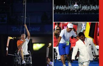 (Left) Wheelchair-bound Hou Bin of China climbs up a rope to ignite the flame during the opening ceremony of the Beijing Paralympic Games Sept. 6, 2008.(Upper Right) 11-year-old Li Yue, a girl who lost her right leg in the Sichuan earthquake, performs with other 109 disabled dancers during the opening ceremony of the Beijing Paralympic Games Sept. 6, 2008.(Lower Right) A member of the Mexican delegation moved on his knees into the Bird's Nest during the opening ceremony of the Beijing Paralympic Games Sept. 6, 2008. (Xinhua Photo)
