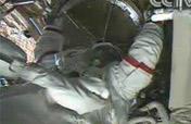Astronaut exits orbital module