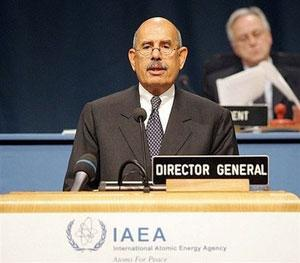 International Atomic Energy Agency (IAEA) chief Mohamed ElBaradei speaks during a IAEA general conference in September 2008 in Vienna.(AFP/File/Dieter Nagl)