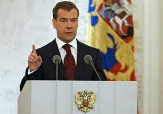 Russia'sPresidentDmitryMedvedevmakeshisannualstateofthenationaddressattheKremlin'sSt.GeorgeHallinMoscow,November5,2008.REUTERS/RIANovosti/Kremlin/DmitryAstakhov