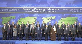Chinese President Hu Jintao (5th R, front), U.S. President George W. Bush (6th R, front) and other leaders from the Group of Twenty (G20) members pose for a group photo during the G20 Summit on Financial Markets and the World Economy in Washington, U.S., Nov. 15, 2008. (Xinhua/Li Xueren)