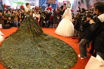 A model presents a wedding dress decorated with peacock feathers at the wedding expo held in Nanjing, capital of east China's Jiangsu Province, March 28, 2009. The gorgeous wedding dress decorated with 2,009 pieces of peacock feathers took eight handicraftsmen two months to finish.(Xinhua/Dong Jinlin)