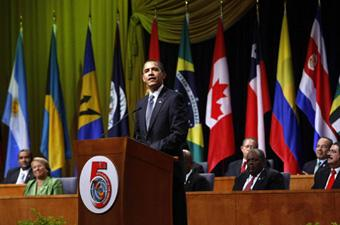 US President Barack Obama gives his speech as presidents look on while attending the opening ceremony of the 5th Summit of the Americas in Port of Spain, April 17, 2009. [Agencies]
