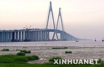 Hangzhou Bay Bridge opens to traffic in 2008.