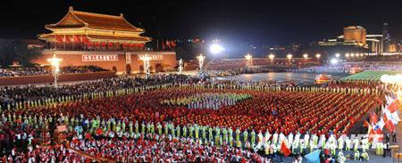 The National Day Evening Gala begins at 20:00, on the Tian'anmen Square in Beijing, Oct. 01, 2009.