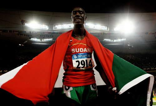 AUGUST 23: Ismail Ahmed Ismail of Sudan celebrates after coming second in the Men's 800m Final held at the National Stadium on Day 15 of the Beijing 2008 Olympic Games on August 23, 2008 in Beijing, China. (Photo by Julian Finney/Getty Images)