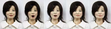 "A combination photo shows a humanoid robot named ""Saya"" making facial expressions as she takes on a role as a school teacher, during a demonstration at an elementary school in Tokyo May 7, 2009. The robot, developed by the Tokyo University of Science professor Hiroshi Kobayashi, which can speak different languages and make facial expressions with motors inside her face. Saya is seen making the expressions (From L to R) happiness, surprise, anger, disgust and fear.(Xinhua/Reuters Photo)"