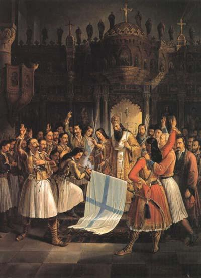 25 March 1821: Germanos of Patras, blessing the Greek flag at Agia Lavra. Theodoros Vryzakis, 1865.