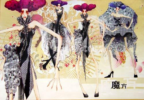 服装设计手稿魔方风格