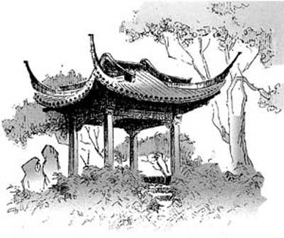 苏州园林速写手绘