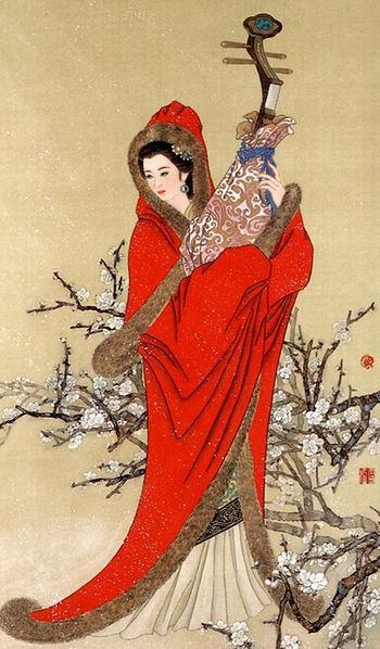 手绘古代美女抱琵琶