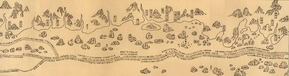 《自宝船厂开船从龙江关出水直抵外国诸番图》原载《武备志》卷二百四十。因为它是郑和下西洋的产物,一般简称为《郑和航海图》。 责编:李菁