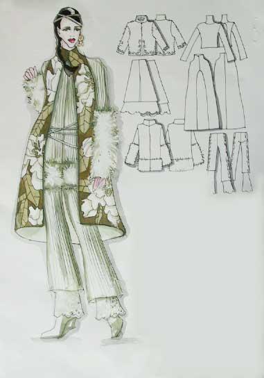 手绘长裙服饰设计图