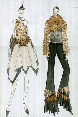点线面服装设计手绘素描图