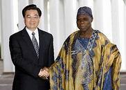 胡锦涛同尼日利亚总统奥巴桑乔会谈