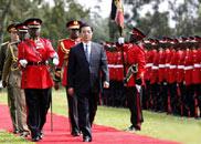 胡锦涛出席肯尼亚总统举行的欢迎仪式