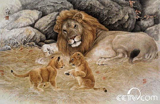 少年与动物绘画作品