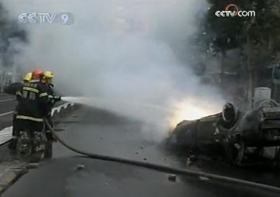 Firefighters and their vehicles were also targeted. Nine from the service were injured.