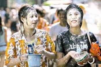 People in Thailand are enjoy a soaking good time for Songkran festival - the Thai New Year.