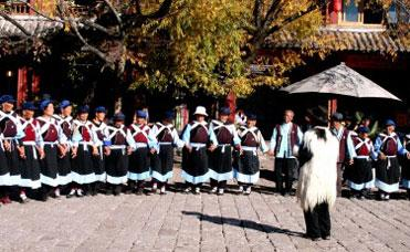 "The dance music ""Re Mei Cuo"" originated among ancient tribes of the Naxi people, in primeval times."