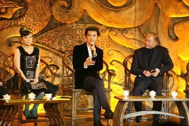 Cast member Takeshi Kaneshiro (center) talks about the new film