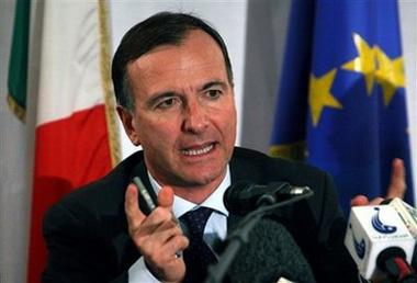 FILE - In this Wednesday, Feb. 18, 2009, file photo, Italian Foreign Minister Franco Frattini speaking during a press conference at the Italian embassy in Kabul, Afghanistan. Frattini said Saturday, May 23, 2009.(AP Photo/Musadeq Sadeq, File)