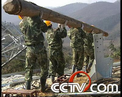 维修工人搬运木头上山